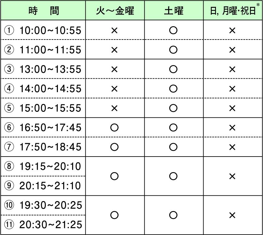授業時間帯